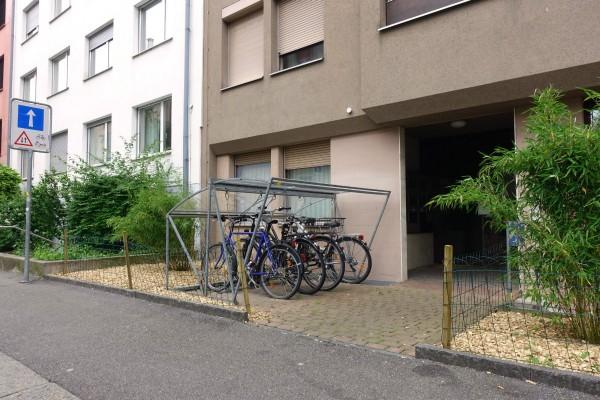 Stationnement exemplaire: à proximité immédiate du logement et abritant sa monture des intempéries.
